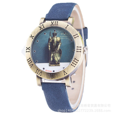 Casual Watch Mid-Century Knight Plate Carved Roman Numerals Watches for Men