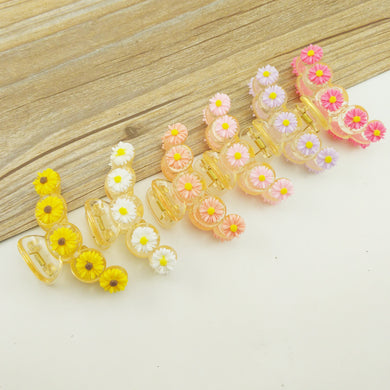 Big Colorful Daisy Pattern Hair Claw Clips