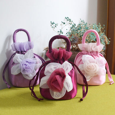 Draw-String Closure with Chiffon Rose Decoration Bucket Bag