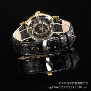 3d Digit Plate PU Leather Band Wristwatch for Men