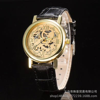 Round Cameo Plate Baroque Style PU Leather Wristwatch