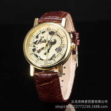 3D Dragon Pattern Plate Leather Band Casual Wristwatch for Men