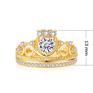 Zircon Gemstone Detail Tiara Shape Rings for Women