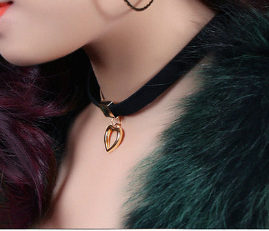 Women Gold Color Heart Shape Fashion Style Chain Necklace