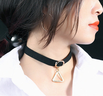 Women Fashion Short Style Black Rope Color Triangulum Nice Necklace
