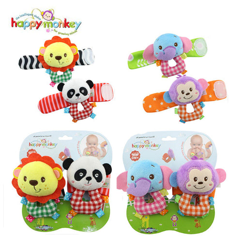 Baby Toy 0-12 Month Infant Soft Cartoon Animal Socks Bug Wrist Strap Band Rattle Moblie Educational Game Doll For Newborn Babies
