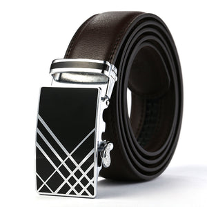 Metal Luster Ratchet Buckle Black Belt for Men