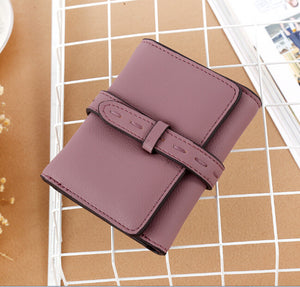Ladies Wallet Short Foreign Trade Pure Color Korean Version With PU 3 Fold Wallet Wallet