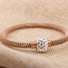 Rhinestone Detail Titanium Steel Mesh Bracelet for Women
