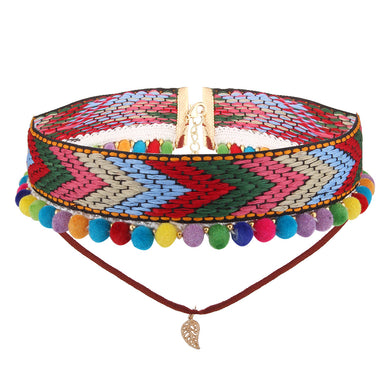 new style for Women Fashion Bohemia Necklace Colorful Handmade Knitting Choker with Small Pompons
