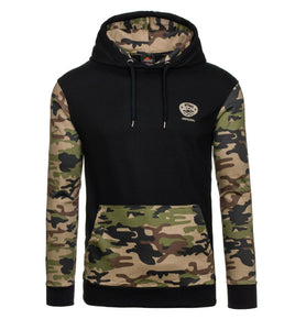 Men's New Camouflage Pullover Stitching Hoodie Baseball Shirt