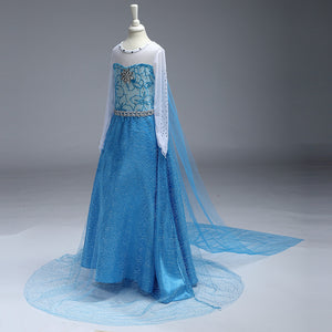 Sapphire Elsa Crystal Dress Girl Cosplay Costume
