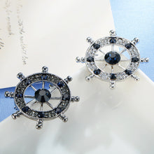 Rudder Shape Blue Rhinestone Gemstone Sweater Clips (1 pcs)