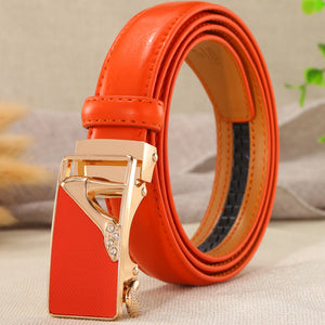 Solid Color Leather Skinny Hip/Waist Dress Belt Heart Cameo Buckles