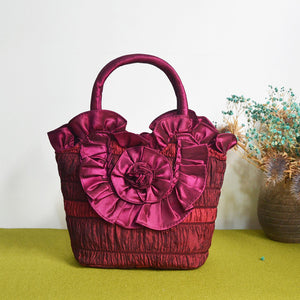 Big Flower On Front Basket Shape Handle Bags for Ladies