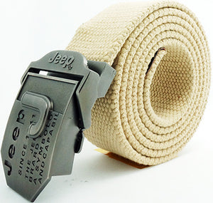 Letters Pattern Buckle Thick Canvas Belt for Men
