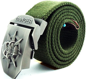 Badge Pattern Alloy Buckle Canvas Belt for Men