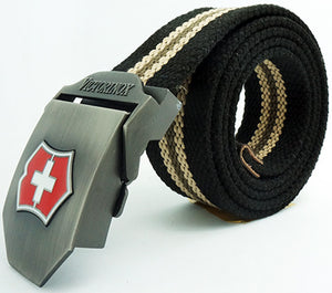 Alloy Buckle Canvas Woven Belt  for Men