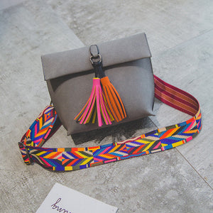 Solid Color Crossbody Bags with Candy Color Fringes Style