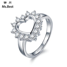 Hollowed Out Heart Shape Zircon Detail Silver Rings for Women Ideal for Engagement