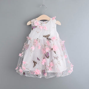 3D Pedals Decorated Girl's Cute Sleeveless One-piece Dress