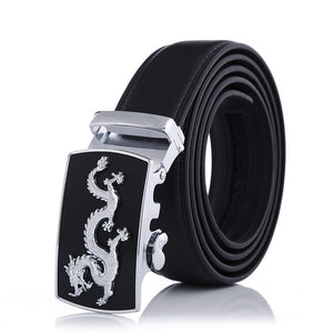 Black Band Auto Close Dragon Pattern Buckle Belts