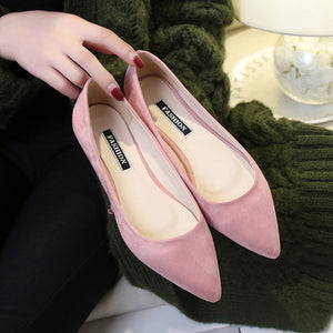 Slim Pointed Toe Suede Pump Shoes