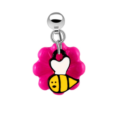 Steel Pink Dangle Bumble Bee Flower Navel Bar Belly Button Rings Body Navel Piercing Rings for Summer Jewelry