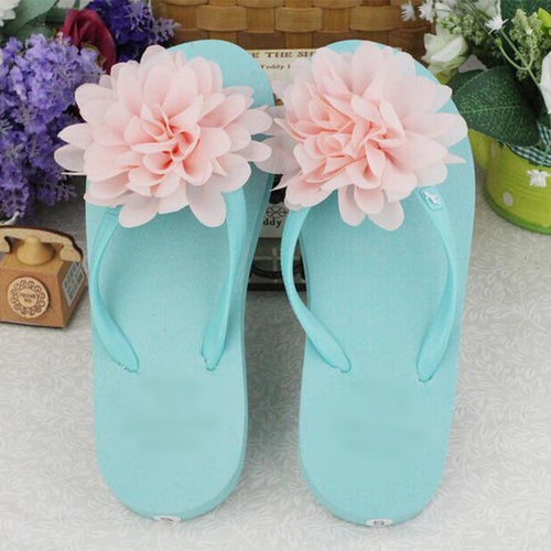 Three-dimensional Chiffon Flower Flip-flops Female Summer Candy Color Cute Flat Slippers(1 pair)