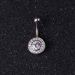 Surgical Steel Summer Short Navels with Circle Crystal Belly Rings Body Jewelry Piercings In Navels Stomach Pircings