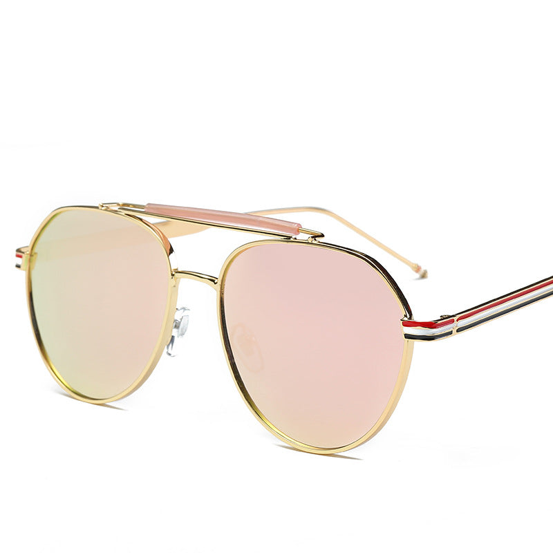 Aviator Fashion Color Stripes Detail Frames Sunglasses for Women