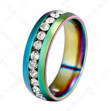 Stainless Steel Hot Style Fashionable Color Single Row Full Diamond Ring