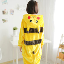 Flannel Pajamas Cartoon Animal Jumpsuits Pikachu Costume for Women
