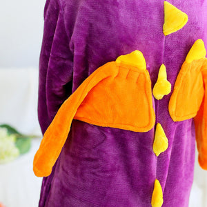 Flannel Cartoon Purple Dinosaur One Piece Home Wearing Pajama Costumes