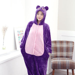 Flannel Pajamas Cartoon Animal Jumpsuits Cute Cat Costume for Women