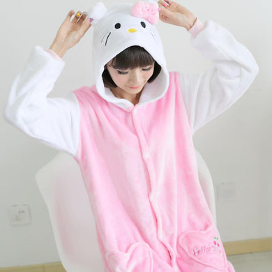Flannel Pajamas Cartoon Animal Jumpsuits Pink Cat Costume for Women