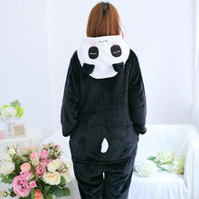 Long Sleeve Flannel Pajamas Cartoon Animal Jumpsuits Panda Costume for Women