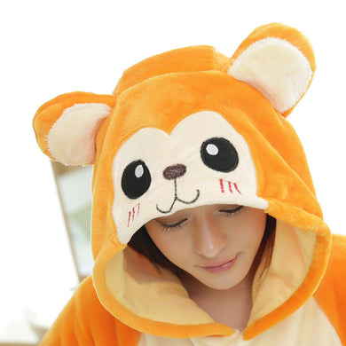 Flannel Cartoon Golden Monkey One Piece Home Wearing Pajama Costumes