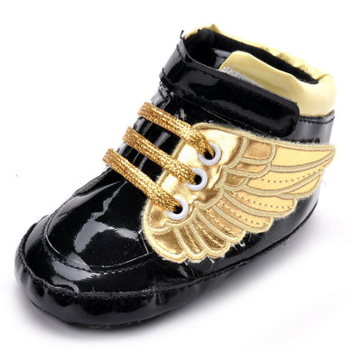 Golden Wings Black Toddler Shoes PU Shoes for Baby Boys