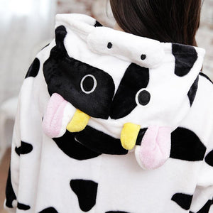 Winter Flannel Pajamas Cartoon Animal Jumpsuits Cow Costume for Women