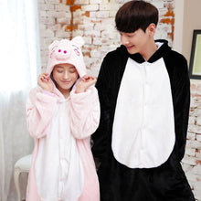 Flannel Pajamas Cartoon Animal Jumpsuits Piggy Costume for Women