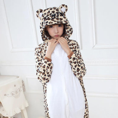 Flannel Pajamas Cartoon Animal Jumpsuits Leopard Bear Costume for Women