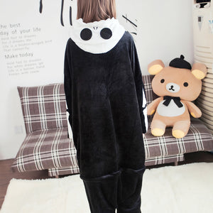 Flannel Cartoon Skull Pattern One Piece Home Wearing Pajama Costumes