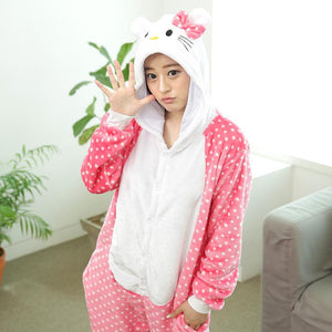Flannel Pajamas Cartoon Animal Jumpsuits Kitten Costume for Women