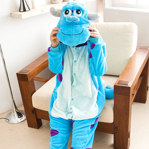 Flannel Cartoon Blue Monster One Piece Home Wearing Pajama Costumes
