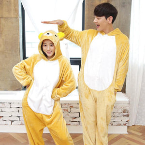 Flannel Pajamas Cartoon Animals Jumpsuits Bear Costume for Women