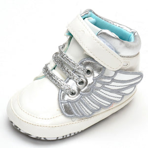 Fashion Shiny Wings Soft Shoe Sole Velcro Shoes High -top Shoes for Baby 0-1 -year-old