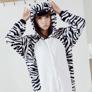 Flannel Pajamas Cartoon Animal Jumpsuits Zebra Costume for Women