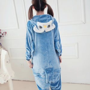 Flannel Cartoon Owl One Piece Home Wearing Pajama Costumes
