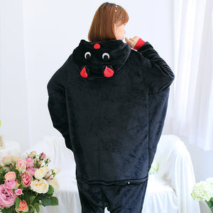 Flannel Cartoon Knight Bat One Piece Home Wearing Pajama Costumes